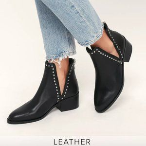 Conquest Black Studded Leather Ankle Booties